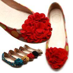 ollio Womens Ballet Flats Loafers Canvas Dot Pattern Flower Bowed Shoes #ollio #BalletFlats