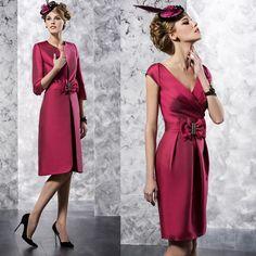 robe de mariée avec veste Rose rouge mère robes de soirée robes de ...