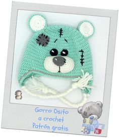 Stricken Gorro osito de peluche a crochet, Crochet Bear Hat, Sombrero A Crochet, Bonnet Crochet, Crochet Kids Hats, Crochet Cap, Crochet Baby Clothes, Crochet For Boys, Crochet Shoes, Cute Crochet
