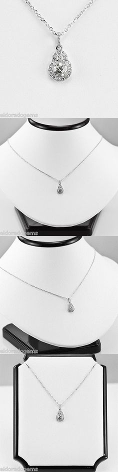 Diamond 164331: Necklace 0.79 Ct. Genuine Diamond Cluster Solitaire Pendant 14K White Gold 16 BUY IT NOW ONLY: $795.0