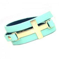 Gold Cross Wrap Around Mint Leather Bracelet