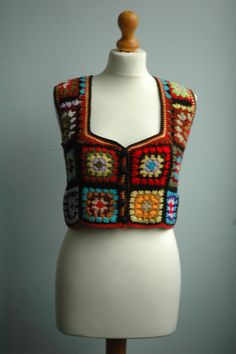 Crochet Waistcoat Vintage1970 by Thehoochietrunk on Etsy, £40.00
