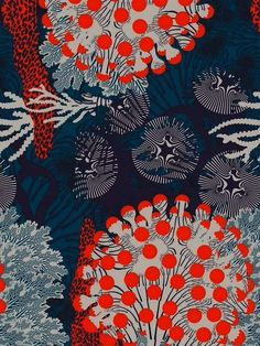 Illustrator Kustaa Saksi Debuts in Marimekko's 2015 Collection – Design &… Motifs Textiles, Textile Patterns, Textile Prints, Print Patterns, Art And Illustration, Pattern Illustration, Surface Pattern Design, Pattern Art, Coral Pattern