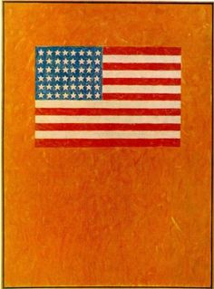 Jasper Johns Flag on Orange Field, 1957, Encaustic on canvas, Collection Ludwig Museum, Cologne, Germany