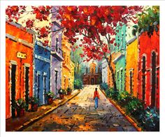 "Amazon.com: 20""x24"". Canvas Print, of Oil Painting, puerto Rico, Old San Juan, Original print, signed by painter.: Posters & Prints"