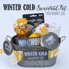 This winter cold survival kit makes a thoughtful get well soon gift Christmas Gift Baskets, Diy Christmas Gifts, All Things Christmas, Handmade Christmas, Easy Gifts, Homemade Gifts, Fun Gifts, Get Well Baskets, Get Well Soon Basket
