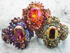 Ribbon Jewelry, Bead Embroidery Jewelry, Beaded Embroidery, Jewelry Art, Jewelry Design, Jewlery, Beaded Rings, Beaded Jewelry, Beaded Bracelets