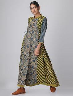 Indigo-Green Block-printed Cotton Anarkali Dress/Kurta Long Kurti Patterns, Dress Patterns, Cotton Anarkali Dress, Cotton Dresses, Ethnic Fashion, Indian Fashion, Boho Fashion, Kurta Designs Women, Blouse Designs