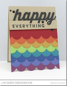 Happy Everything, Happy Die-namics, Stitched Scallop Edges Die-namics - Barbara Anders  #mftstamps