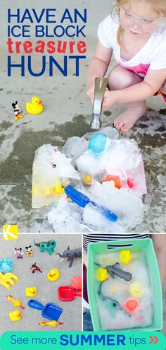 This summer activity is perfect for younger kids. Try freezing a bunch of toys in water and let little ones play I-Spy. Use a hammer to excavate toys (under supervision, of course). See more summer bucket list activities for kids on KCL! Summer Holiday Activities, Summer Activities For Toddlers, Summer Fun For Kids, Summer Fun List, Summer Bucket Lists, Toddler Activities, Indoor Activities, Fun Toys For Kids, Preschool Water Activities