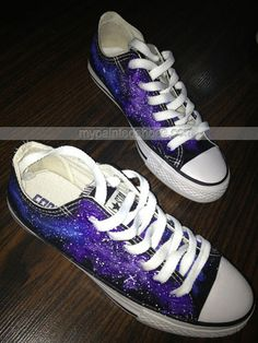 #Galaxy Sneakers Hand Painted Low-top Painted Canvas Shoes