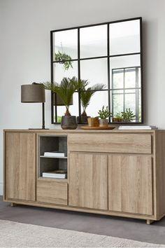Cabinet Storage Cupboard Stunning Oak /& Grey Finish Wooden Sideboard Unit