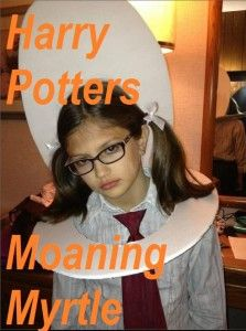 Kids love Harry Potter? Here an easy idea for Homemade Halloween costumes to be Moaning Myrtle from Harry Potter. The girl won a costume contest with this one!