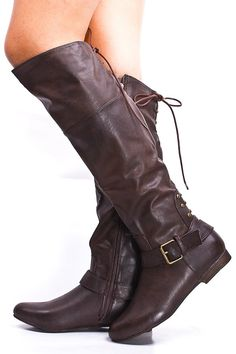 BROWN KNEE HIGH BUCKLE STRAP STUDDED LACE UP BOOTS