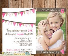 Joint Birthday Invitation Double Birthday by AhalyaDesignStudio, $14.00