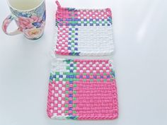 """Woven Pot Holders """"Spring Pink Pastel"""" All Cotton Loops Lavender Green Details Kitchen Gift Cottage Chic Home and Living"""
