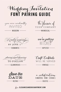 Wedding Invitation Font and Pairing Guide from Elegance and Enchantment // Great…