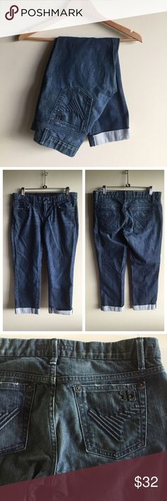 """Joe's cropped cuffed jeans Great pair of Joe's in a medium wash. Not super skinny but a slim fit. 16"""" across waist with an 8"""" rise and 24"""" inseam. Excellent condition, no flaws. Joe's Jeans Jeans Ankle & Cropped"""