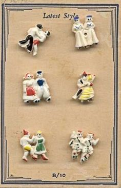 "ButtonArtMuseum.com - Card with 6 International Dancing Couples Buttons ""Latest Style"" Nice Detail"
