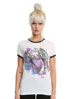 83614f87 How To Train Your Dragon Toothless Watercolor Girls Ringer T-Shirt, WHITE  Populært Emne