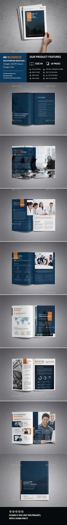 A4 Corporate Business Brochure Template  — PSD Template #modern #stylish • Download ➝ https://graphicriver.net/item/a4-corporate-business-brochure-template-/14926005?ref=pxcr