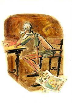 Caricatura de Cervantes, por Gin. #100carasCervantes