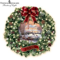 Thomas Kinkade Illuminated Wreath With Holiday Art