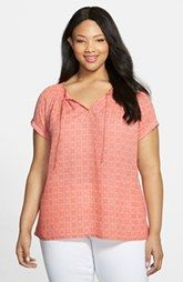 Caslon® Roll Sleeve Peasant Top (Plus Size)