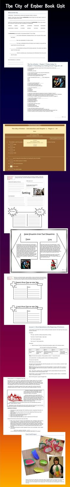 A Teacher's Resource Guide to use with The City of Ember contains lessons aligned to the Common Core Standards for grades 4 – 6. This comprehensive unit includes vocabulary practice, comprehension quizzes (both multiple choice and constructive response), skill practice, and language arts lessons. $