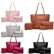 2764cded6301 4PCS Popular Ladies PU Leather Shoulder Bags Women Purse and Handbags Sets  Fashion Women Messenger Crossbody