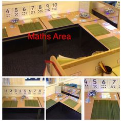 Our maths area containing numbers, place mats, counting objects, lights and mirrors. Shelves offer resources to support number writing, measure including length, capacity and weight, resources also linked to time and shapes.