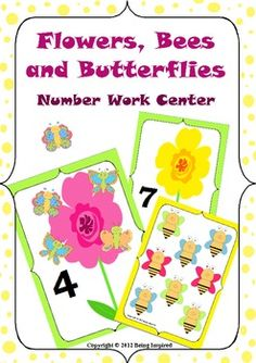 Number Work Center - Flowers, Bees and Butterflies.