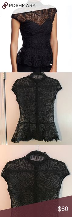 Gracia Lace/Mesh Peplum Top This is a great top and is in great condition. It has a high neck, cap sleeves, peplum waist, and zipper down the back. It would look great with a black bra/bralette under it. It is hand wash cold only. Size m. Also, it is 100% polyester. Gracia Tops Blouses