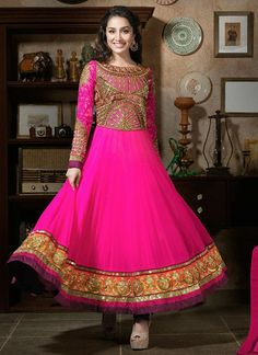 Shraddha Kapoor Pink and Gold Anarkali Suit – Lashkaraa