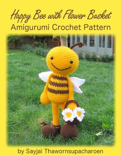 ENGLISH Instructions ONLY - Instant Download PDF Crochet Pattern : Huggy Happy Bee with Flower Basket This is an easy crochet pattern, but you have to know the basic stitches. ch = chain; sc = single crochet; st = stitch; sl st = slip stitch. Finished size: The bee is 19 inches/ 47.5