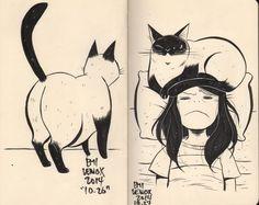 cat illustration sktechbook pages.