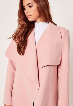 70f652535a Missguided - Oversized Waterfall Duster Coat Pink Waterfall Duster Coat