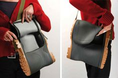 The rubber boot becomes bag. It lives in various forms and use. The boot is carefully trimmed and, coupled to another, resulting in a large bag. With the addition of accessories, such as belts, buckles, buttons, etc... A product easily customizable according to taste ! ++ More informationat Marco Sc…
