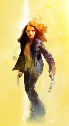 Photoshop and Rebelle Digital Based of one of the LOGAN Film posters, I aged her up a bit from the 9 year old in the film to 16 or so, kinda, ish. Marvel Comic Universe, Marvel Comics Art, Marvel Dc Comics, All New Wolverine, Logan Wolverine, Wolverine Poster, Marvel Wolverine, Marvel Girls, Comics Girls
