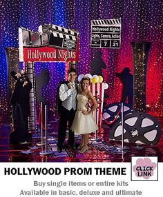 Consider Hollywood as a great prom theme.  All the props and background materials you'll need to make a great party. (Ultimate - $699.99)