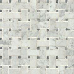 """Bedrosians Honed 12"""" x 12"""" Honed Marble Mosaic Tile in White & Gray"""