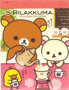 Rilakkuma bear with coffee mini Memo Pad by San-X