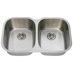 Polaris Sinks Undermount Stainless Steel 35 in. Double Bowl Kitchen Sink-P405-16 - The Home Depot
