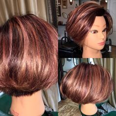 An under cut added to this classic bob adds tons of movement! Chin Length Cuts, Carmel Highlights, Classic Bob, Hair Color And Cut, Color Mixing, Hair Makeup, Base, Unique, Beauty