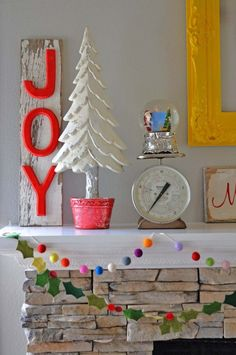 mantel with vintage christmas pretties