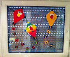 Herbst Fensterbild Winddrachen Kinderzimmer