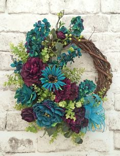 Teal & Purple, Front Door Wreath, Silk Floral Wreath, Grapevine Wreath, Outdoor…