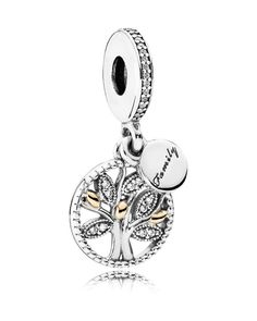 Pandora Dangle Charm - 14k Gold, Sterling Silver & Cubic Zirconia Family Heritage, Moments Collection