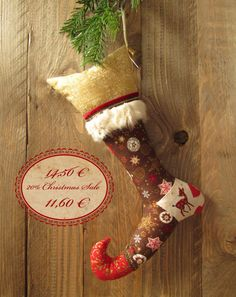 sale 20% off  christmas stocking with small fur edge