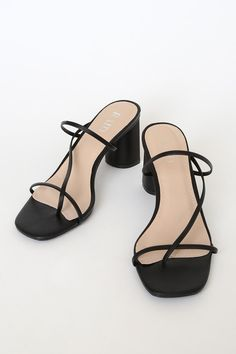 Trust us, you're going to want to show off the RAID Brioni Black Strappy High Heel Sandals! These slide-on sandals have a network of slender straps that create Black Strappy High Heels, Black Block Heel Sandals, Strappy Block Heels, Strappy Sandals Heels, Pumps Heels, Prom Heels, Mules Shoes, Trendy Sandals, Heels Outfits